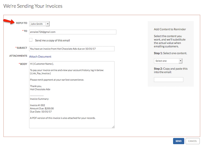 Emailing Invoices Support Center - Emailed invoice