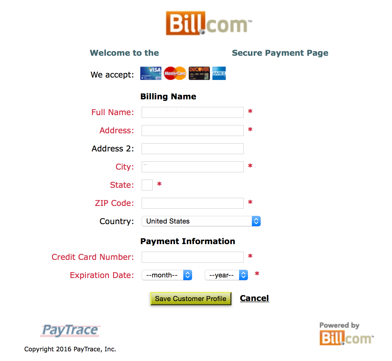 Changing customer credit card information – Support Center